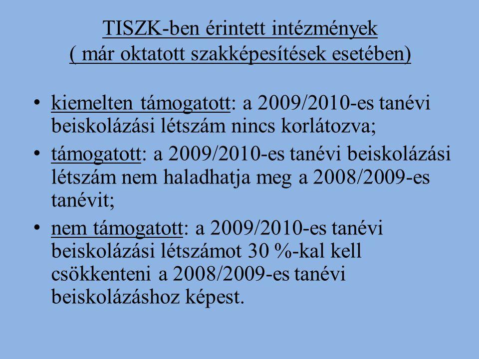 TISZK-ben érintett intézmények ( már oktatott szakképesítések esetében) kiemelten támogatott: a 2009/2010-es tanévi beiskolázási létszám nincs korlátozva; támogatott: a 2009/2010-es tanévi beiskolázási létszám nem haladhatja meg a 2008/2009-es tanévit; nem támogatott: a 2009/2010-es tanévi beiskolázási létszámot 30 %-kal kell csökkenteni a 2008/2009-es tanévi beiskolázáshoz képest.