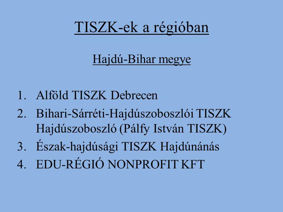TISZK-ek a régióban Hajdú-Bihar megye 1.Alföld TISZK Debrecen 2.Bihari-Sárréti-Hajdúszoboszlói TISZK Hajdúszoboszló (Pálfy István TISZK) 3.Észak-hajdúsági TISZK Hajdúnánás 4.EDU-RÉGIÓ NONPROFIT KFT