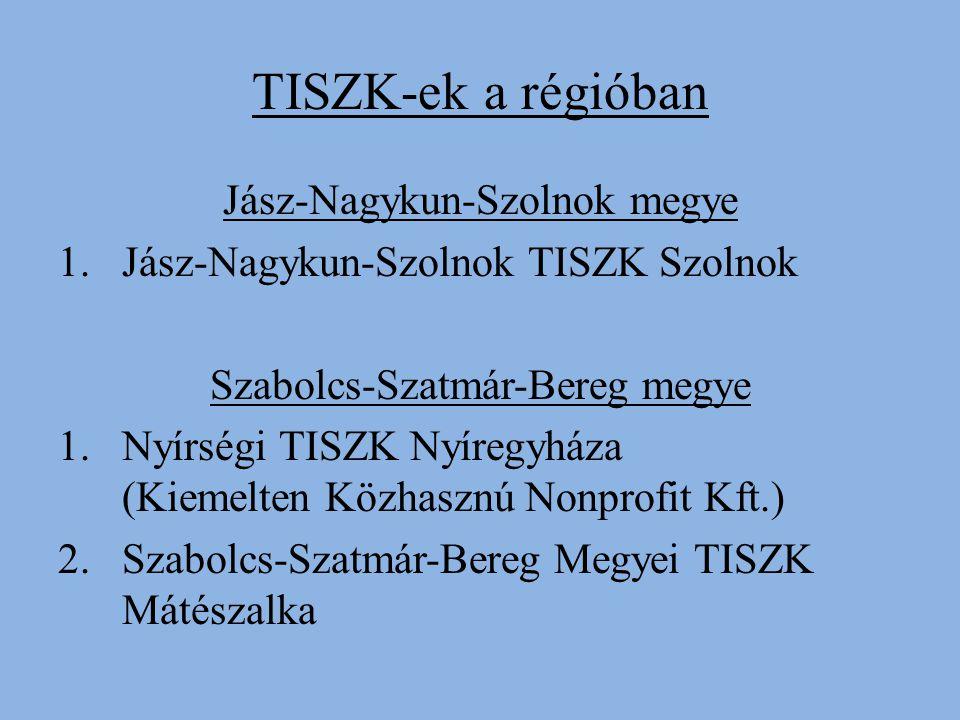 TISZK-ek a régióban Jász-Nagykun-Szolnok megye 1.Jász-Nagykun-Szolnok TISZK Szolnok Szabolcs-Szatmár-Bereg megye 1.Nyírségi TISZK Nyíregyháza (Kiemelten Közhasznú Nonprofit Kft.) 2.Szabolcs-Szatmár-Bereg Megyei TISZK Mátészalka