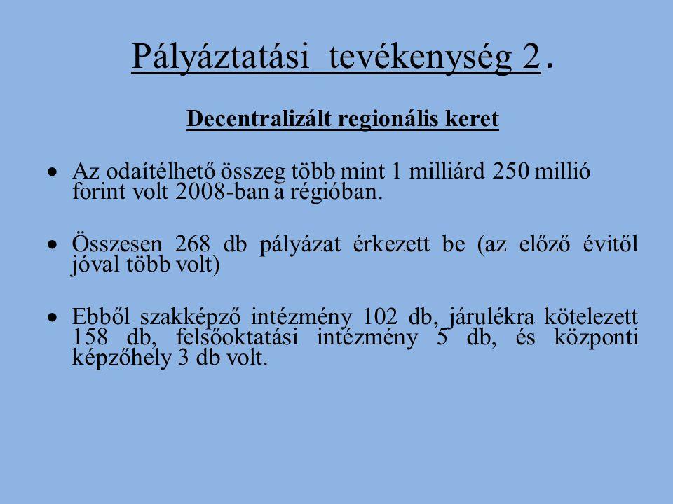 Pályáztatási tevékenység 2. Decentralizált regionális keret AA z odaítélhető összeg több mint 1 milliárd 250 millió forint volt 2008-ban a régióban.