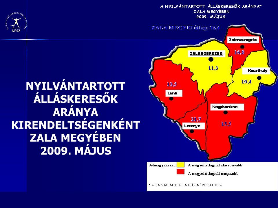 NYILVÁNTARTOTT ÁLLÁSKERESŐK ARÁNYA KIRENDELTSÉGENKÉNT ZALA MEGYÉBEN 2009. MÁJUS