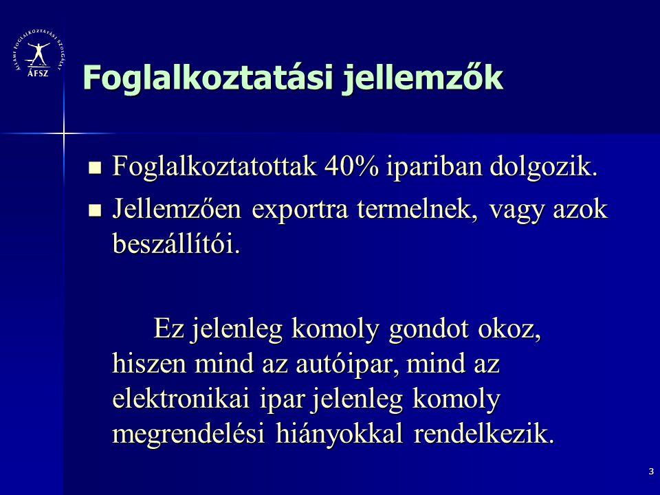 4 Jellemzők Észak – dél irányú foglalkoztatási lejtés: Észak – dél irányú foglalkoztatási lejtés: Győr-Moson-Sopron megyében nincs hátrányos kistérség, Vasban kettő, Zalában már négy ilyen kistérséggel számolhatunk.