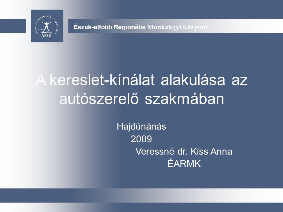 Új arculati javaslatok Észak-alföldi Regionális Munkaügyi Központ A kereslet-kínálat alakulása az autószerelő szakmában Hajdúnánás 2009 Veressné dr.