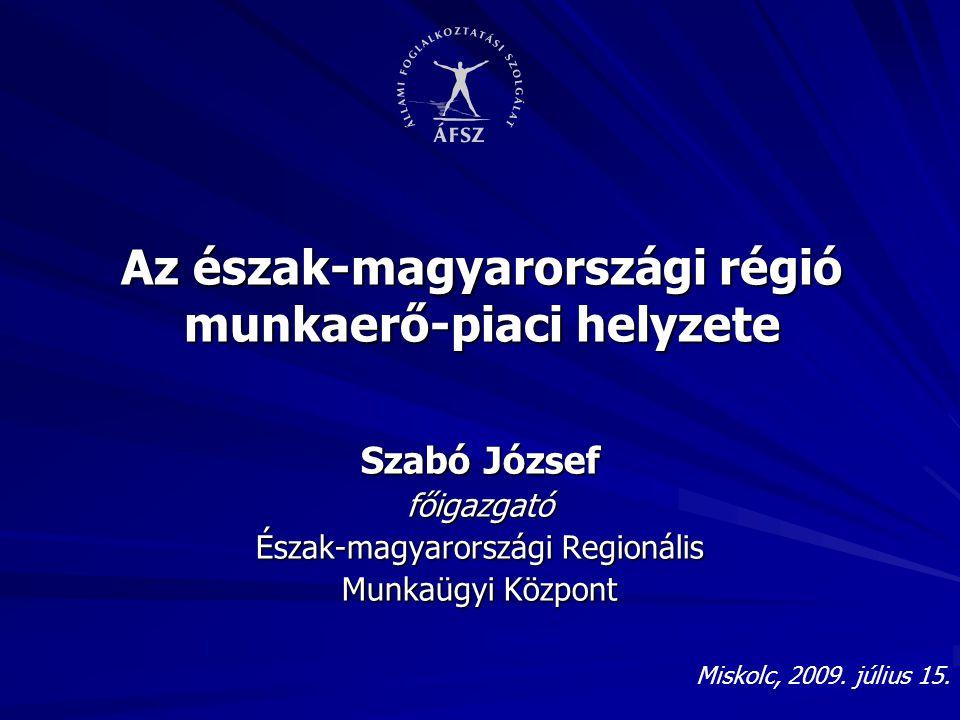 Az észak-magyarországi régió munkaerő-piaci helyzete Szabó József főigazgató Észak-magyarországi Regionális Munkaügyi Központ Miskolc, 2009. július 15