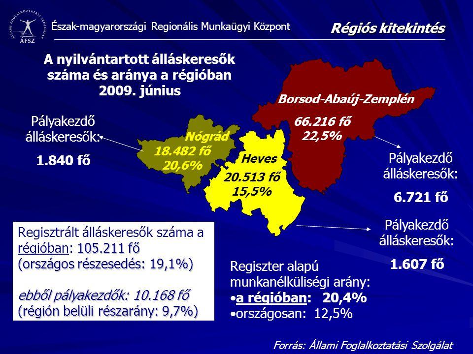 Észak-magyarországi Regionális Munkaügyi Központ 66.216 fő 22,5% 20.513 fő 15,5% 18.482 fő 20,6% A nyilvántartott álláskeresők száma és aránya a régióban 2009.