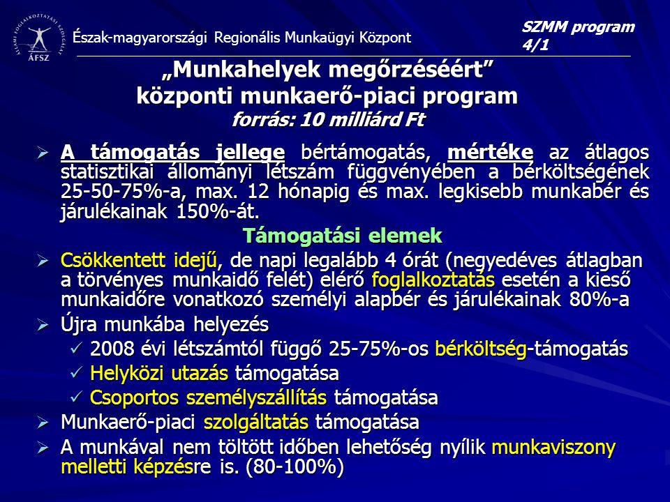 """Észak-magyarországi Regionális Munkaügyi Központ """"Munkahelyek megőrzéséért központi munkaerő-piaci program forrás: 10 milliárd Ft  A támogatás jellege bértámogatás, mértéke az átlagos statisztikai állományi létszám függvényében a bérköltségének 25-50-75%-a, max."""