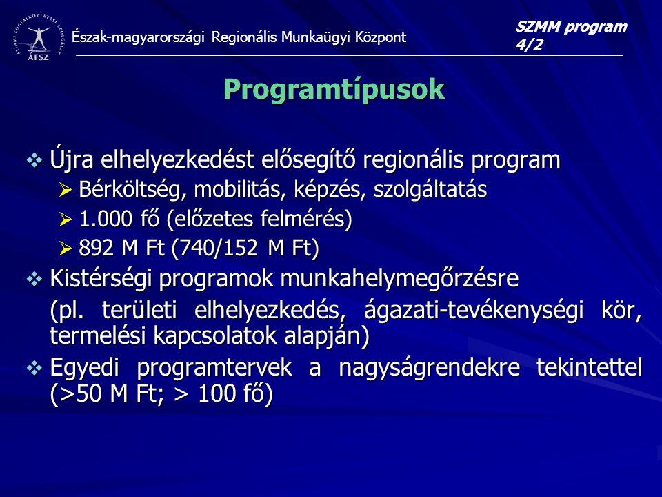Észak-magyarországi Regionális Munkaügyi Központ Programtípusok  Újra elhelyezkedést elősegítő regionális program  Bérköltség, mobilitás, képzés, szolgáltatás  1.000 fő (előzetes felmérés)  892 M Ft (740/152 M Ft)  Kistérségi programok munkahelymegőrzésre (pl.