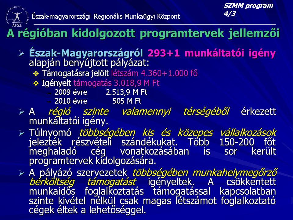Észak-magyarországi Regionális Munkaügyi Központ A régióban kidolgozott programtervek jellemzői  Észak-Magyarországról 293+1 munkáltatói igény alapján benyújtott pályázat:  Támogatásra jelölt létszám 4.360+1.000 fő  Igényelt támogatás 3.018,9 M Ft  2009 évre2.513,9 M Ft  2010 évre 505 M Ft  A régió szinte valamennyi térségéből érkezett munkáltatói igény.