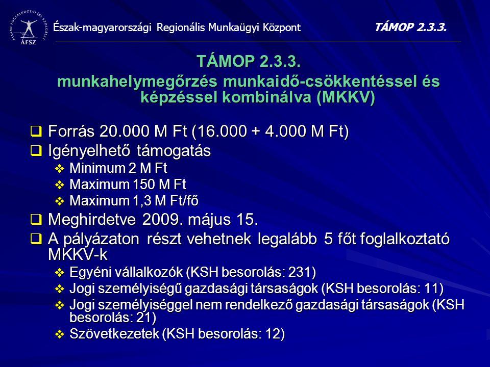 Észak-magyarországi Regionális Munkaügyi Központ TÁMOP 2.3.3. munkahelymegőrzés munkaidő-csökkentéssel és képzéssel kombinálva (MKKV)  Forrás 20.000