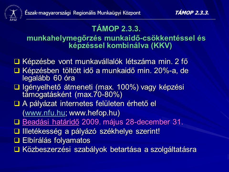 Észak-magyarországi Regionális Munkaügyi Központ TÁMOP 2.3.3. munkahelymegőrzés munkaidő-csökkentéssel és képzéssel kombinálva (KKV)  Képzésbe vont m