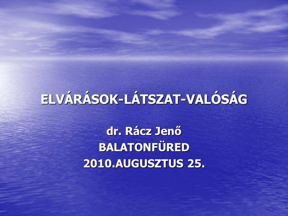 ELVÁRÁSOK-LÁTSZAT-VALÓSÁG dr. Rácz Jenő BALATONFÜRED 2010.AUGUSZTUS 25.