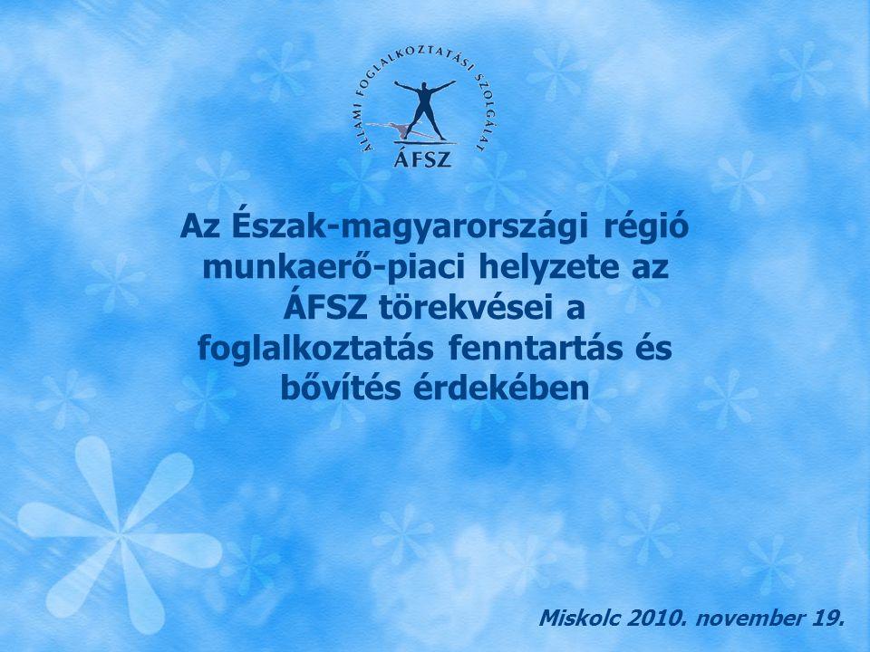 Észak-magyarországi Regionális Munkaügyi Központ A közfoglalkoztatás új típusai  Országos közmunkaprogramok  Önkormányzati teljes munkaidős közmunka  Önkormányzati részmunkaidős közmunka  Vállalkozók közmunka támogatása Megvalósítás: 2011.