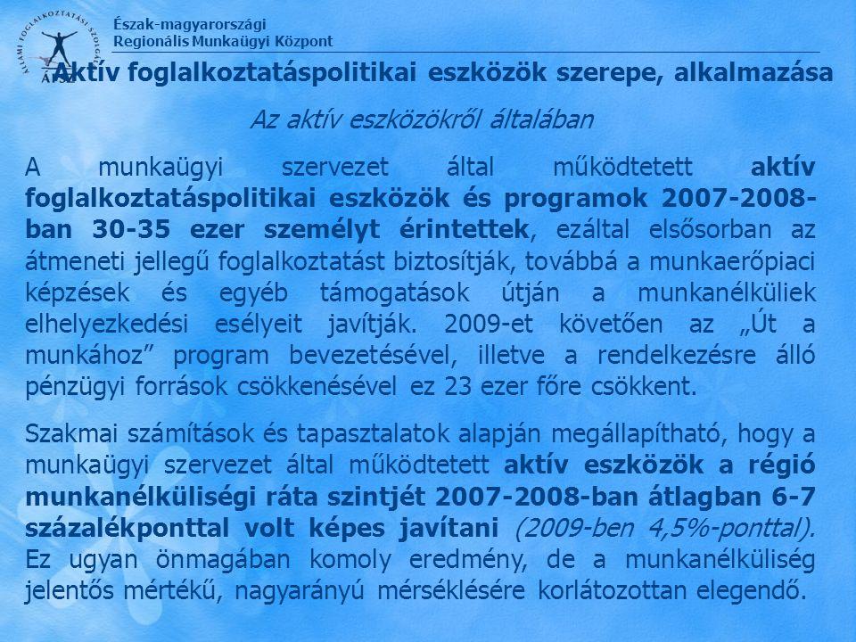 Észak-magyarországi Regionális Munkaügyi Központ Az aktív eszközökről általában A munkaügyi szervezet által működtetett aktív foglalkoztatáspolitikai