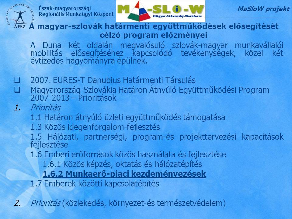 Észak-magyarországi Regionális Munkaügyi Központ A magyar-szlovák határmenti együttműködések elősegítését célzó program előzményei A Duna két oldalán