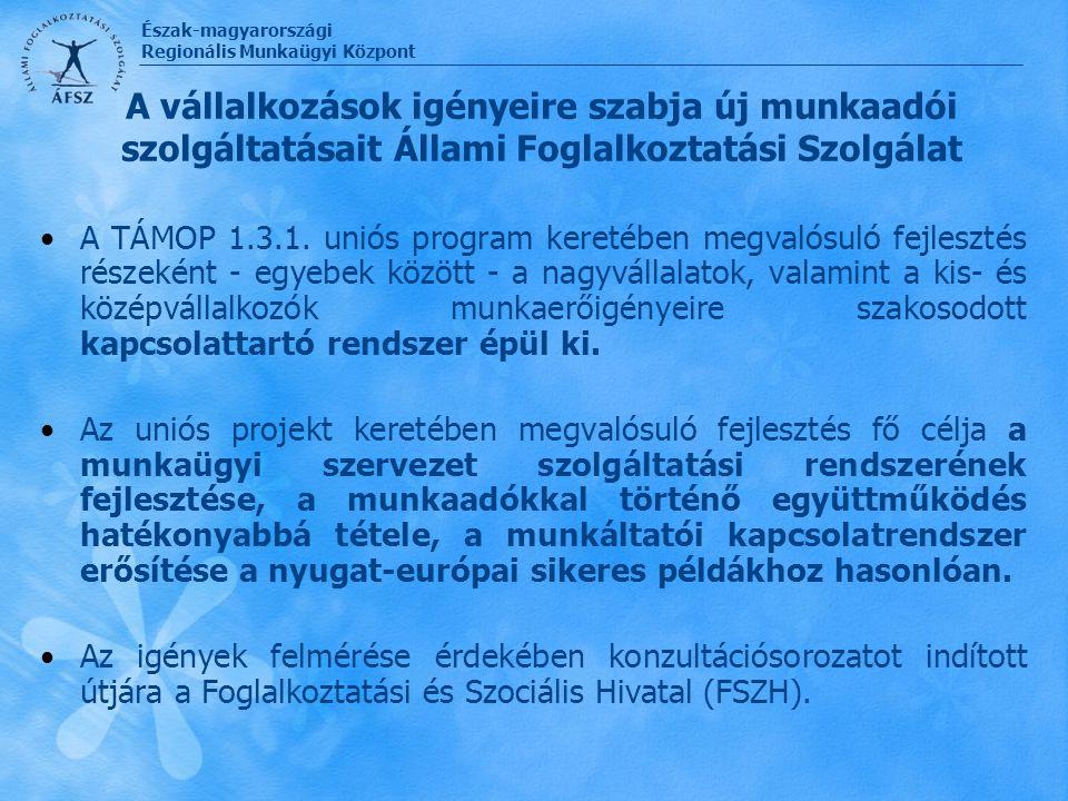 Észak-magyarországi Regionális Munkaügyi Központ A vállalkozások igényeire szabja új munkaadói szolgáltatásait Állami Foglalkoztatási Szolgálat A TÁMO