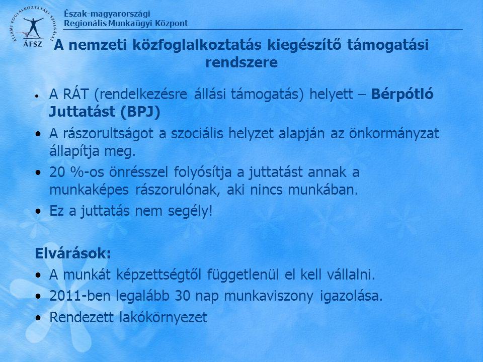 Észak-magyarországi Regionális Munkaügyi Központ A nemzeti közfoglalkoztatás kiegészítő támogatási rendszere A RÁT (rendelkezésre állási támogatás) he