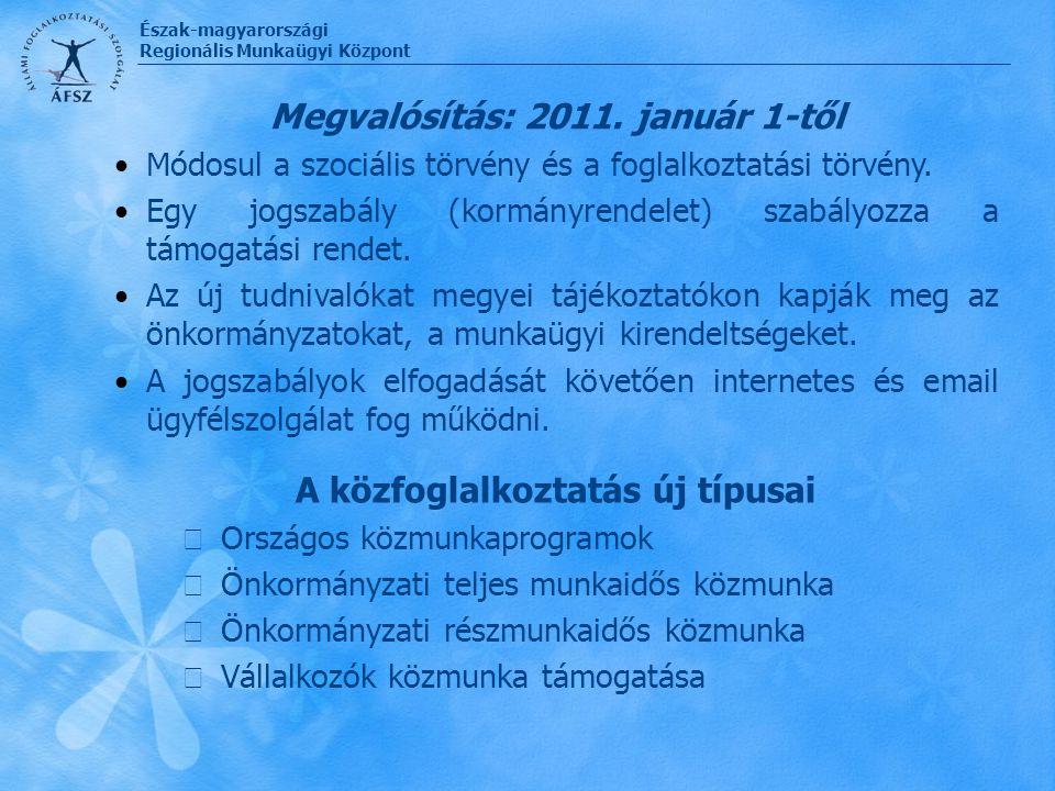 Észak-magyarországi Regionális Munkaügyi Központ A közfoglalkoztatás új típusai  Országos közmunkaprogramok  Önkormányzati teljes munkaidős közmunka