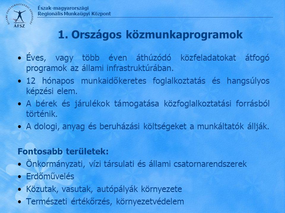Észak-magyarországi Regionális Munkaügyi Központ 1. Országos közmunkaprogramok Éves, vagy több éven áthúzódó közfeladatokat átfogó programok az állami