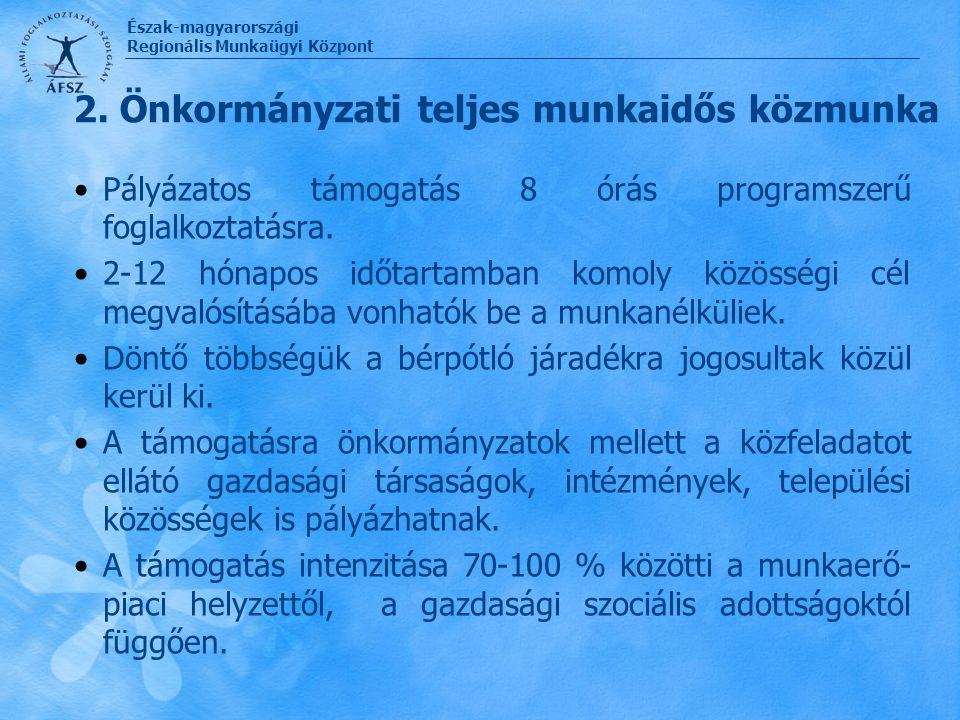 Észak-magyarországi Regionális Munkaügyi Központ 2. Önkormányzati teljes munkaidős közmunka Pályázatos támogatás 8 órás programszerű foglalkoztatásra.