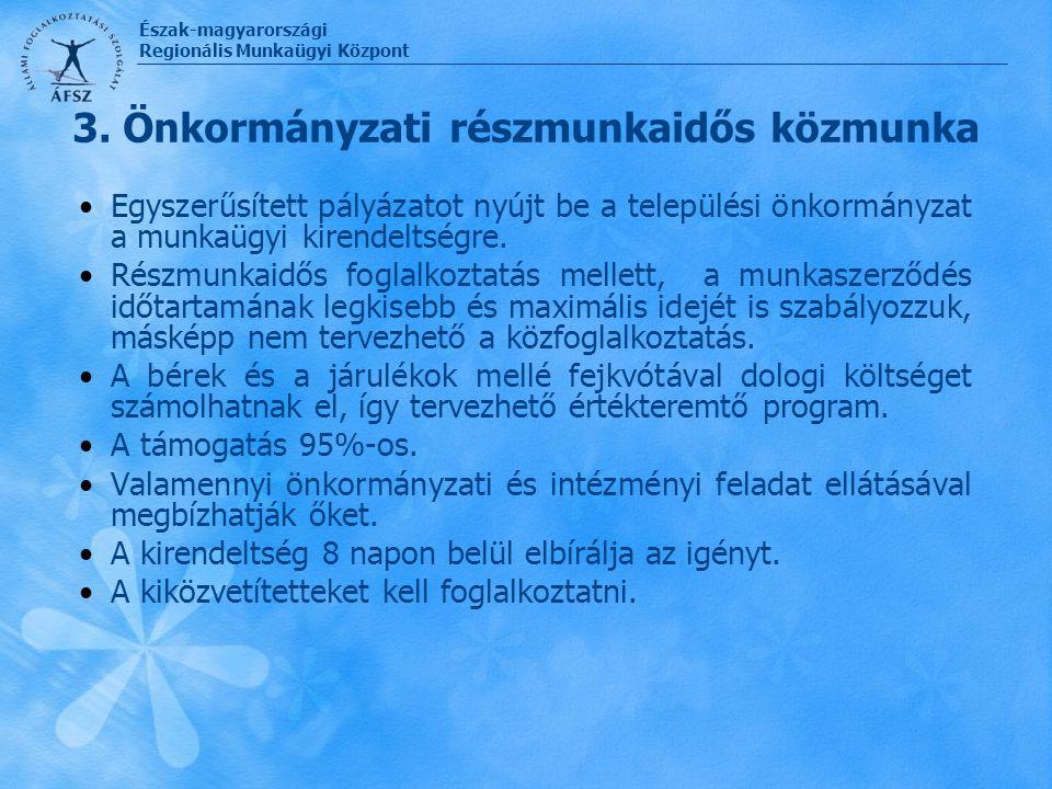 Észak-magyarországi Regionális Munkaügyi Központ 3. Önkormányzati részmunkaidős közmunka Egyszerűsített pályázatot nyújt be a települési önkormányzat