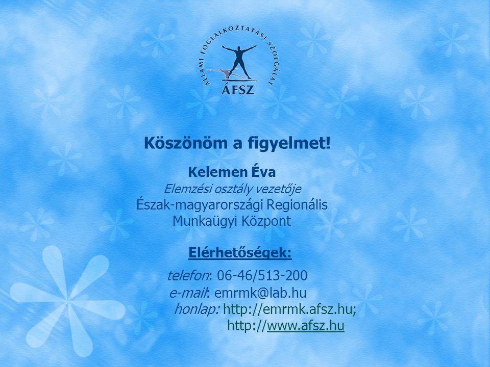 Köszönöm a figyelmet! Kelemen Éva Elemzési osztály vezetője Észak-magyarországi Regionális Munkaügyi Központ Elérhetőségek: telefon: 06-46/513-200 e-m