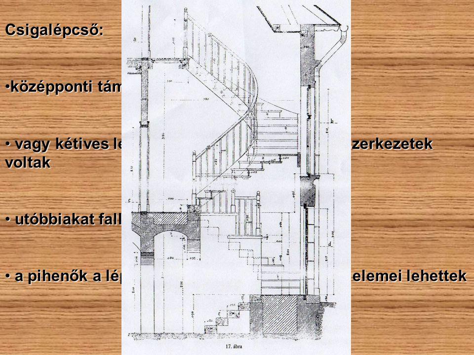 Csigalépcső: középponti támaszra szerkesztettközépponti támaszra szerkesztett vagy kétives lépcsőoldalú, üreges orsóterű szerkezetek voltak vagy kétiv