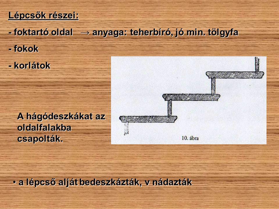 Lépcsők részei: - foktartó oldal → anyaga: teherbíró, jó min. tölgyfa - fokok - korlátok A hágódeszkákat az oldalfalakba csapolták. a lépcső alját bed