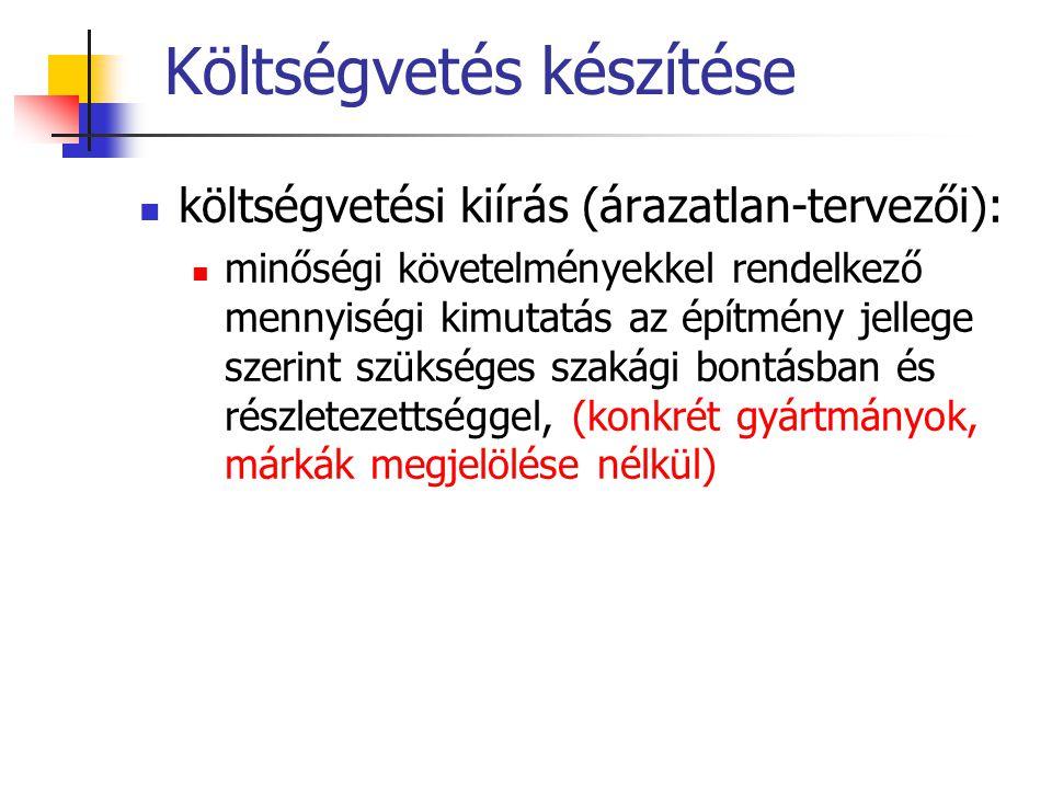 Költségvetés készítése költségvetési kiírás (árazatlan-tervezői): minőségi követelményekkel rendelkező mennyiségi kimutatás az építmény jellege szerint szükséges szakági bontásban és részletezettséggel, (konkrét gyártmányok, márkák megjelölése nélkül)