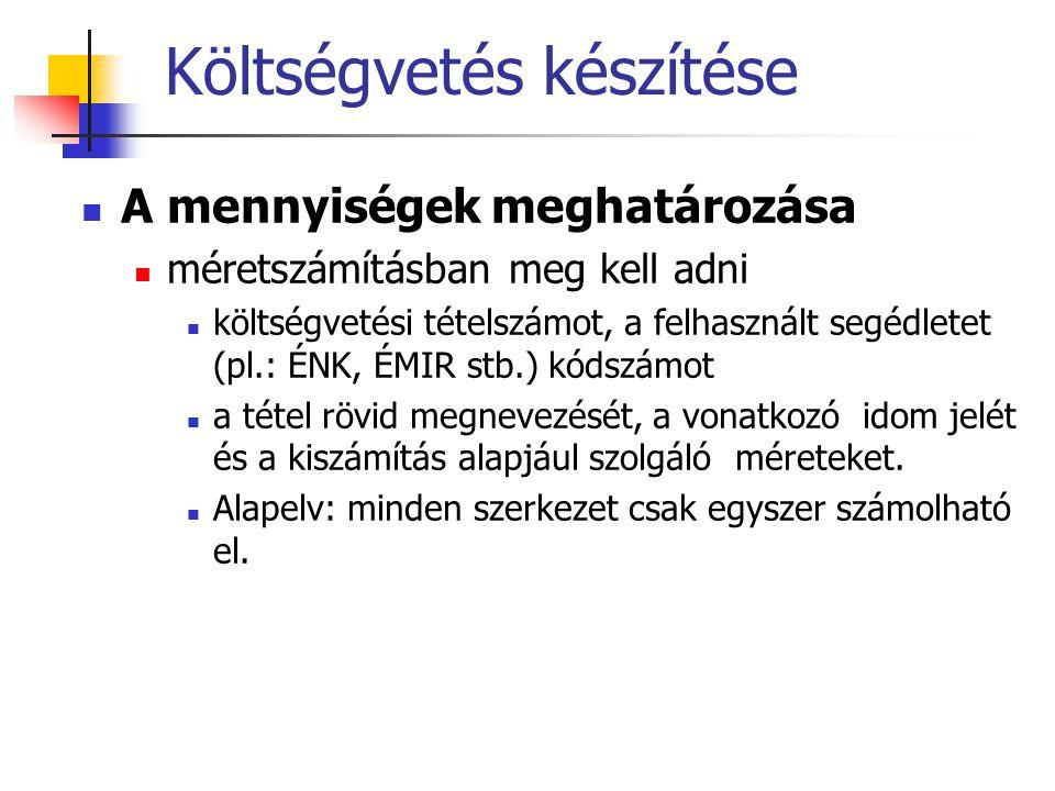 Költségvetés készítése A mennyiségek meghatározása méretszámításban meg kell adni költségvetési tételszámot, a felhasznált segédletet (pl.: ÉNK, ÉMIR stb.) kódszámot a tétel rövid megnevezését, a vonatkozó idom jelét és a kiszámítás alapjául szolgáló méreteket.