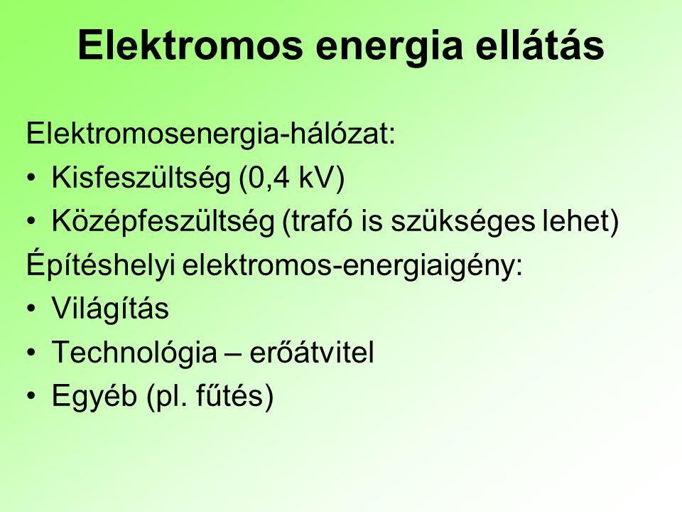 Elektromos energia ellátás Elektromosenergia-hálózat: Kisfeszültség (0,4 kV) Középfeszültség (trafó is szükséges lehet) Építéshelyi elektromos-energia