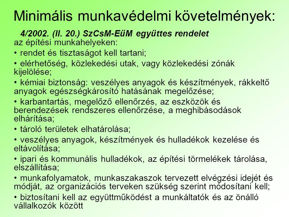 Minimális munkavédelmi követelmények: 4/2002. (II. 20.) SzCsM-EüM együttes rendelet az építési munkahelyeken: rendet és tisztaságot kell tartani; elér