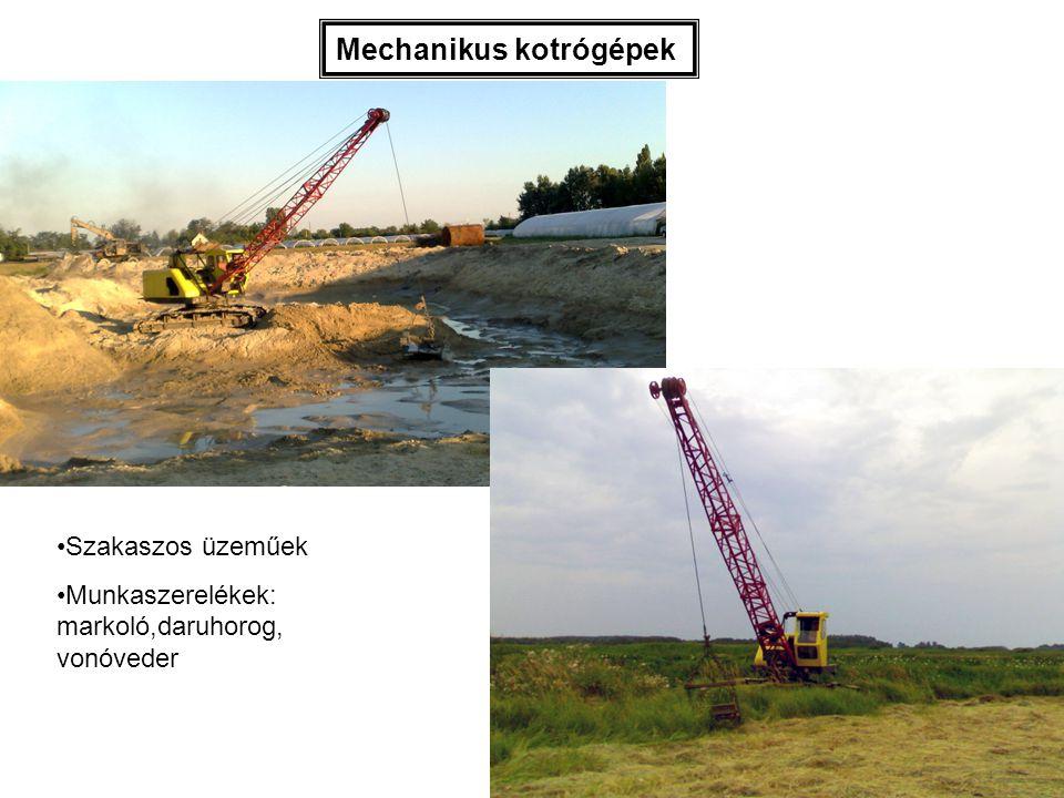 Mechanikus kotrógépek Szakaszos üzeműek Munkaszerelékek: markoló,daruhorog, vonóveder