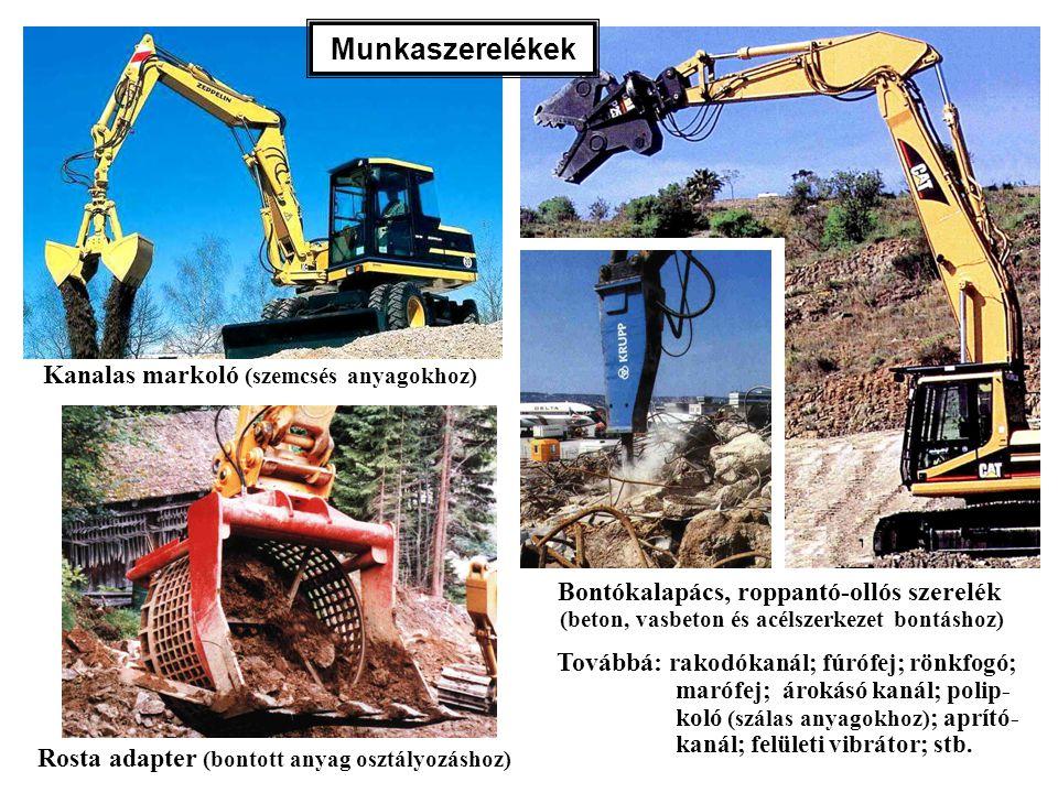 Kanalas markoló (szemcsés anyagokhoz) Rosta adapter (bontott anyag osztályozáshoz) Bontókalapács, roppantó-ollós szerelék (beton, vasbeton és acélszer