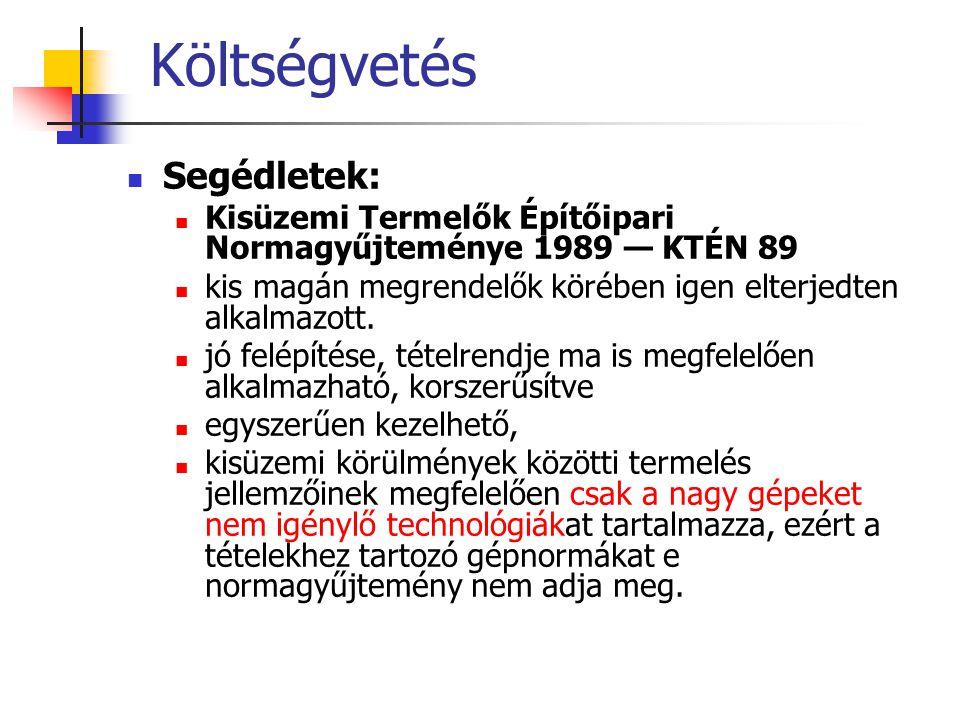 Költségvetés Segédletek: Kisüzemi Termelők Építőipari Normagyűjteménye 1989 — KTÉN 89 kis magán megrendelők körében igen elterjedten alkalmazott. jó f