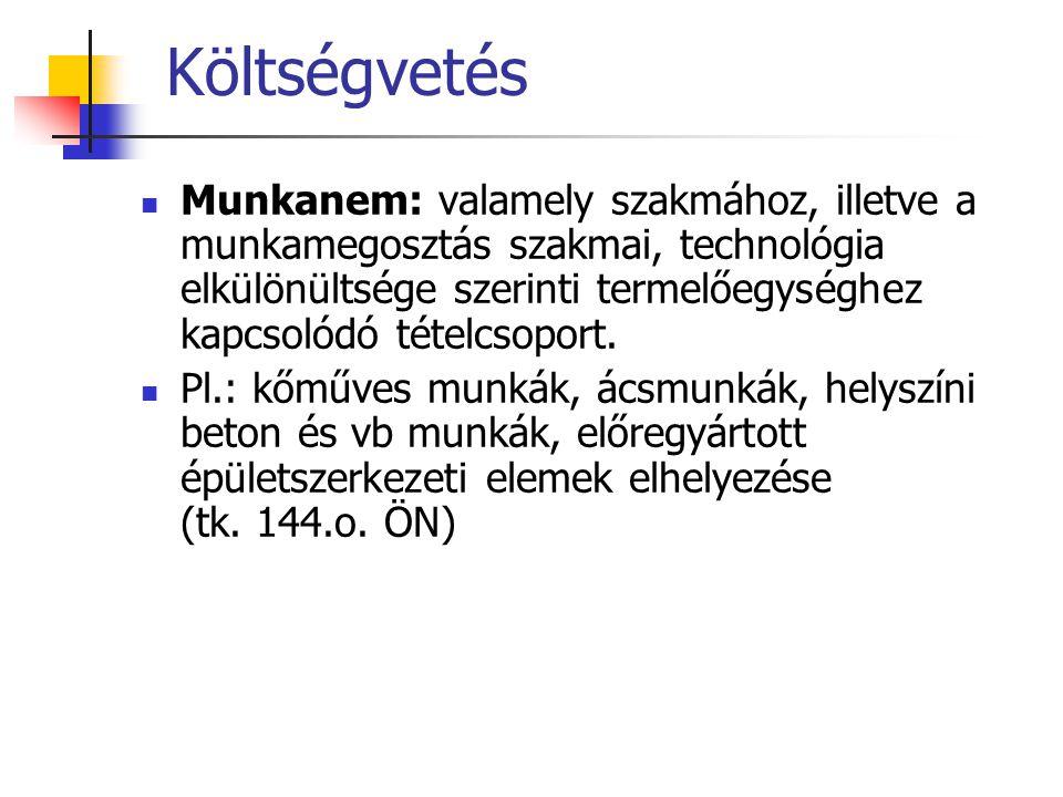 Költségvetés Munkanem: valamely szakmához, illetve a munkamegosztás szakmai, technológia elkülönültsége szerinti termelőegységhez kapcsolódó tételcsop