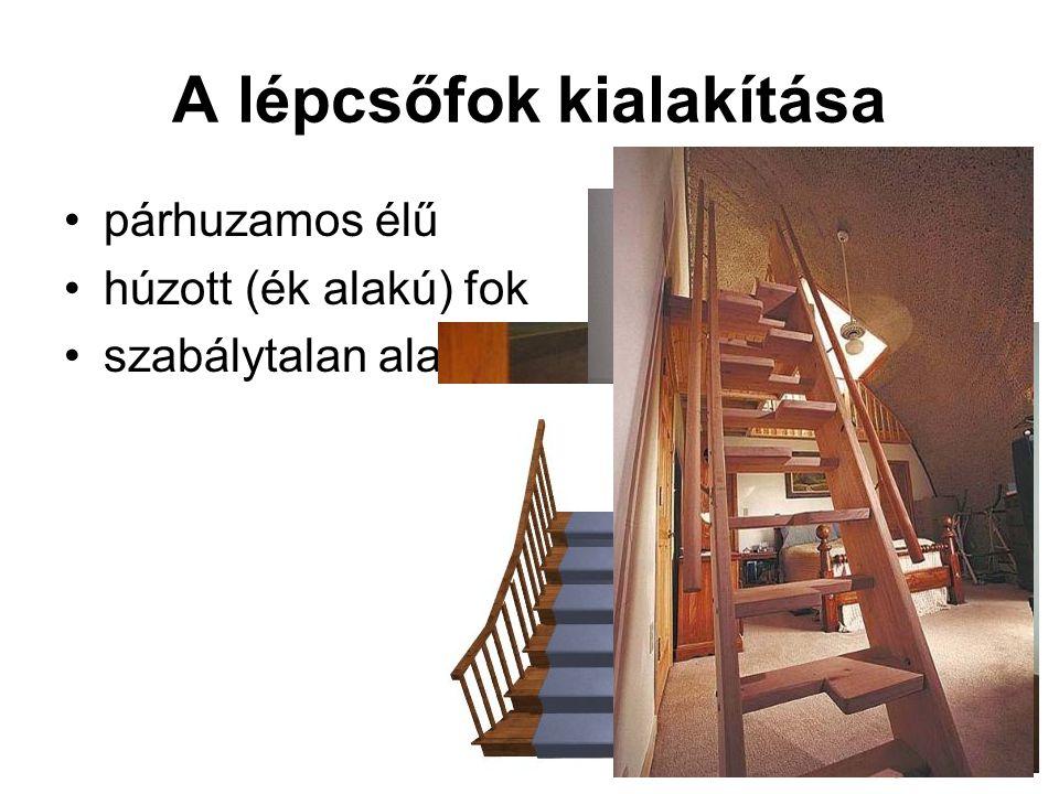 A lépcsőfok kialakítása párhuzamos élű húzott (ék alakú) fok szabálytalan alakú