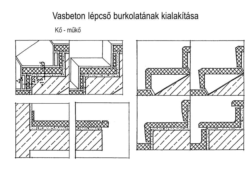 Vasbeton lépcső burkolatának kialakítása Kő - műkő