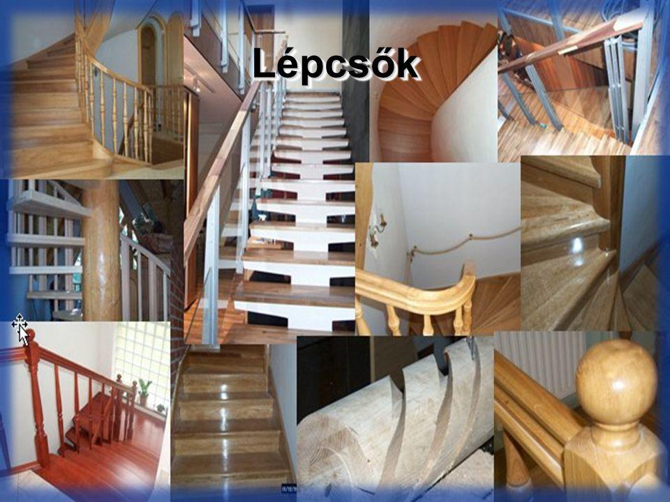Külső lépcsők Előlépcsők: –Épület körüli terepszint és a fszinti padlószint közötti szintkülönbség áthidalása –Épülethez kapcsolódik, bejárati lépcső Épület alapozásával megegyező mélységű, ahhoz kapcsolódó alap –Érkező pihenő mérete min.