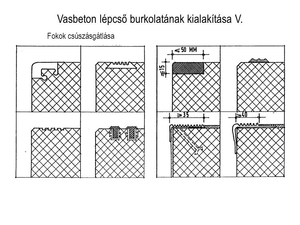 Vasbeton lépcső burkolatának kialakítása V. Fokok csúszásgátlása