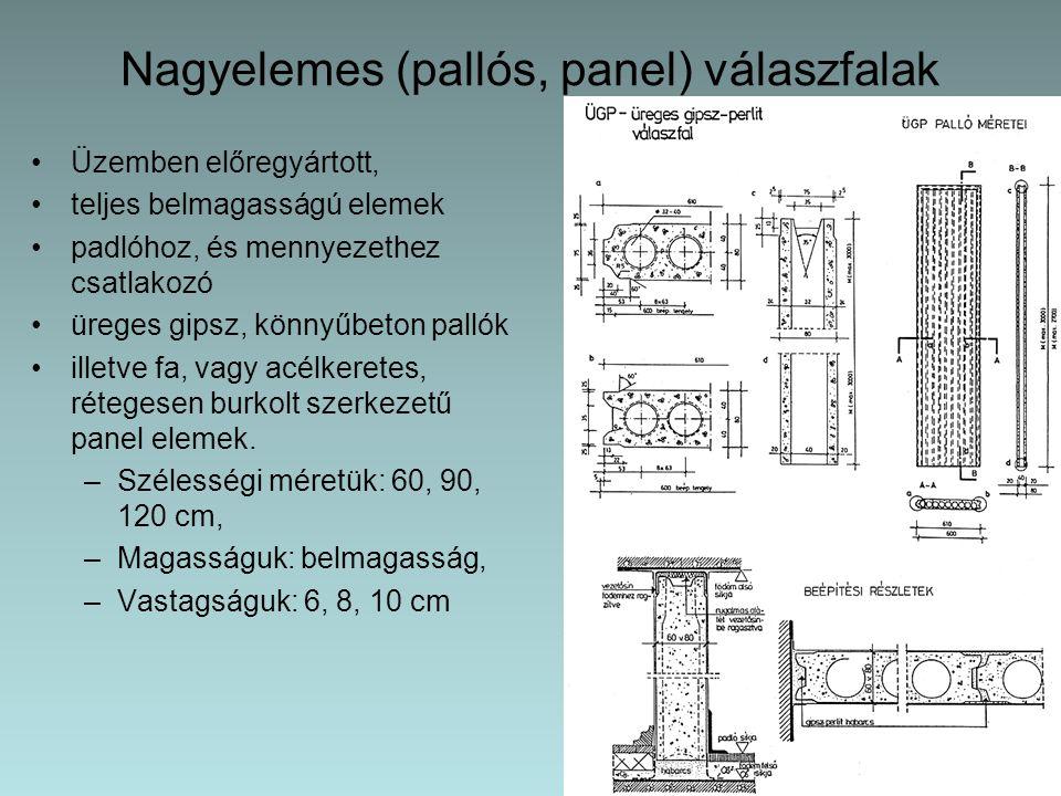 Nagyelemes (pallós, panel) válaszfalak Üzemben előregyártott, teljes belmagasságú elemek padlóhoz, és mennyezethez csatlakozó üreges gipsz, könnyűbeto