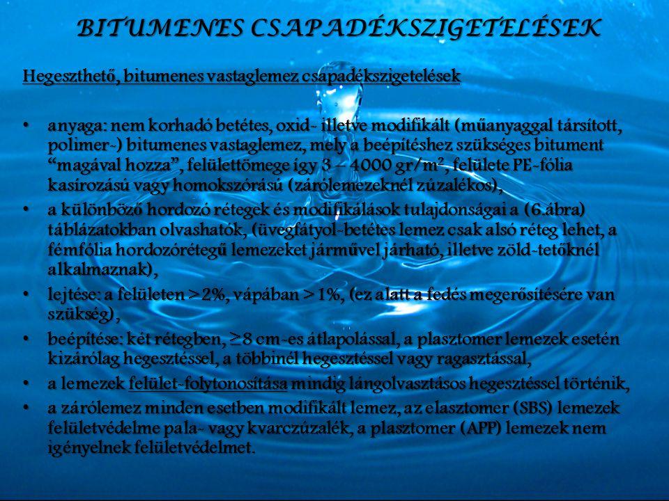 BITUMENES CSAPADÉKSZIGETELÉSEK Hegeszthet ő, bitumenes vastaglemez csapadékszigetelések anyaga: nem korhadó betétes, oxid- illetve modifikált (m ű any