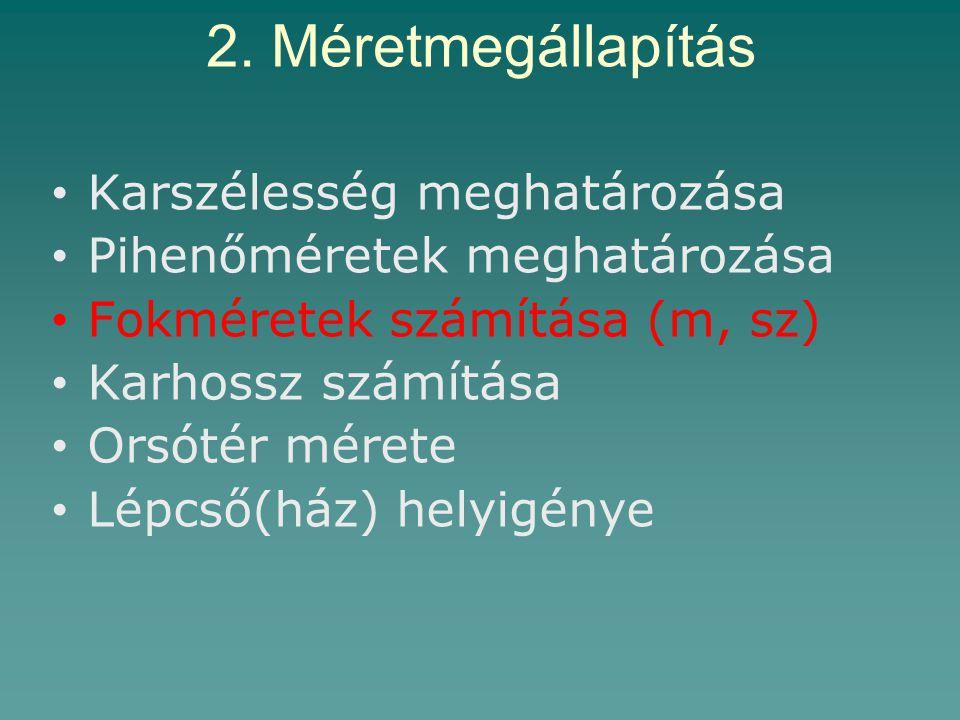 2. Méretmegállapítás Karszélesség meghatározása Pihenőméretek meghatározása Fokméretek számítása (m, sz) Karhossz számítása Orsótér mérete Lépcső(ház)