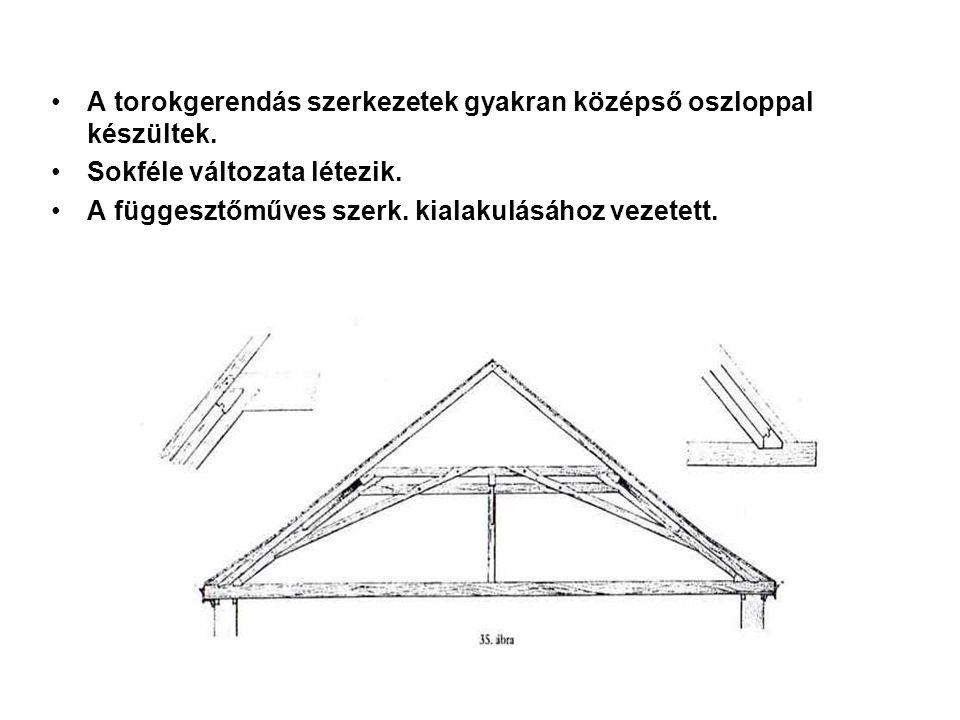 A torokgerendás szerkezetek gyakran középső oszloppal készültek. Sokféle változata létezik. A függesztőműves szerk. kialakulásához vezetett.