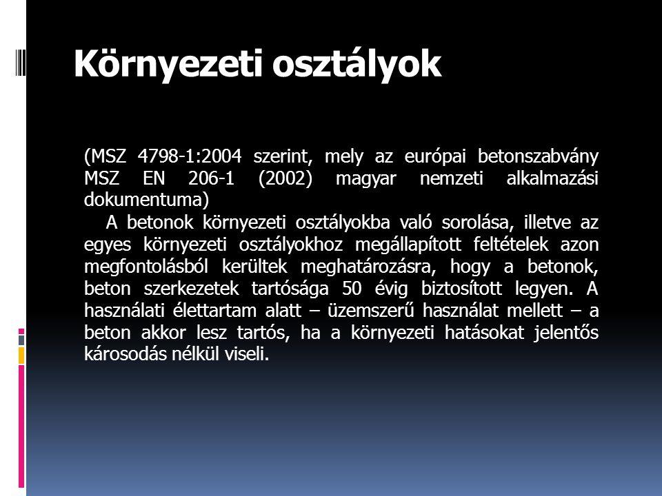 Környezeti osztályok (MSZ 4798-1:2004 szerint, mely az európai betonszabvány MSZ EN 206-1 (2002) magyar nemzeti alkalmazási dokumentuma) A betonok környezeti osztályokba való sorolása, illetve az egyes környezeti osztályokhoz megállapított feltételek azon megfontolásból kerültek meghatározásra, hogy a betonok, beton szerkezetek tartósága 50 évig biztosított legyen.