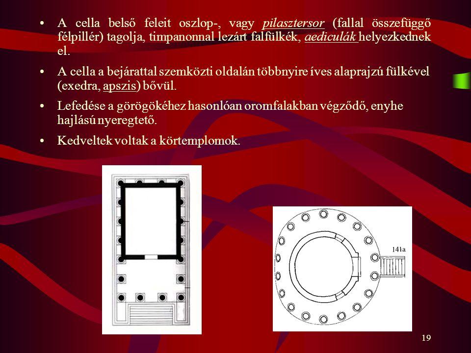 19 A cella belső feleit oszlop-, vagy pilasztersor (fallal összefüggő félpillér) tagolja, timpanonnal lezárt falfülkék, aediculák helyezkednek el. A c
