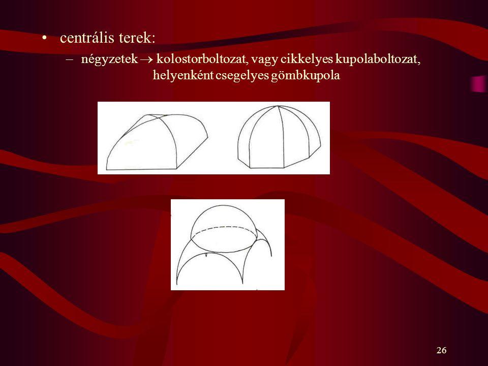 26 centrális terek: –négyzetek  kolostorboltozat, vagy cikkelyes kupolaboltozat, helyenként csegelyes gömbkupola