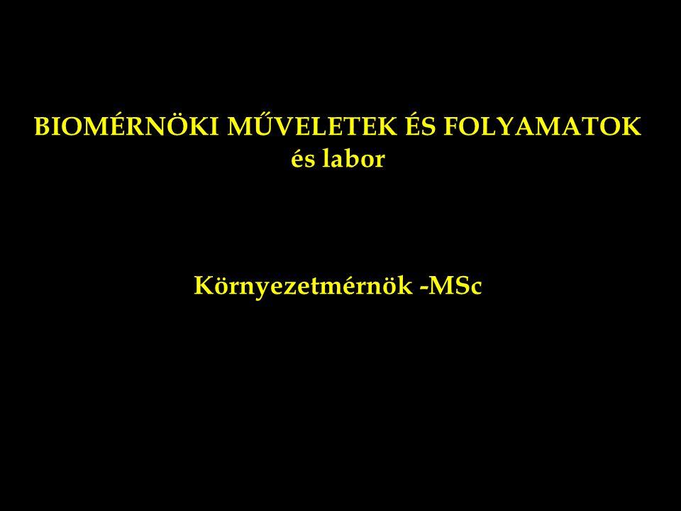 BIOMÉRNÖKI MŰVELETEK ÉS FOLYAMATOK és labor Környezetmérnök -MSc TARTALOM