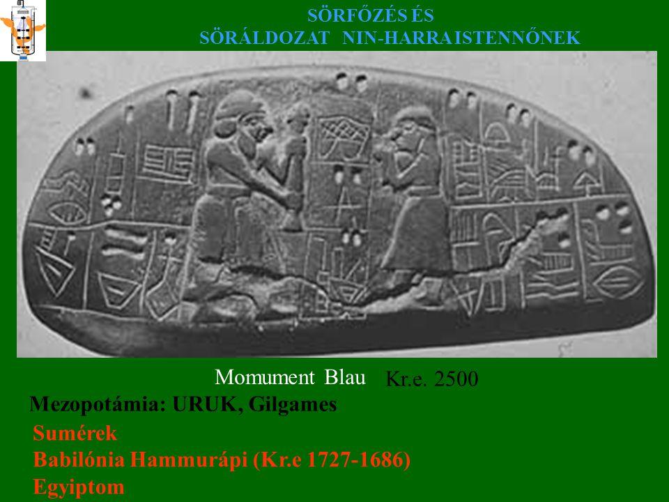 SÖRFŐZÉS ÉS SÖRÁLDOZAT NIN-HARRA ISTENNŐNEK Momument Blau Kr.e. 2500 Mezopotámia: URUK, Gilgames Sumérek Babilónia Hammurápi (Kr.e 1727-1686) Egyiptom