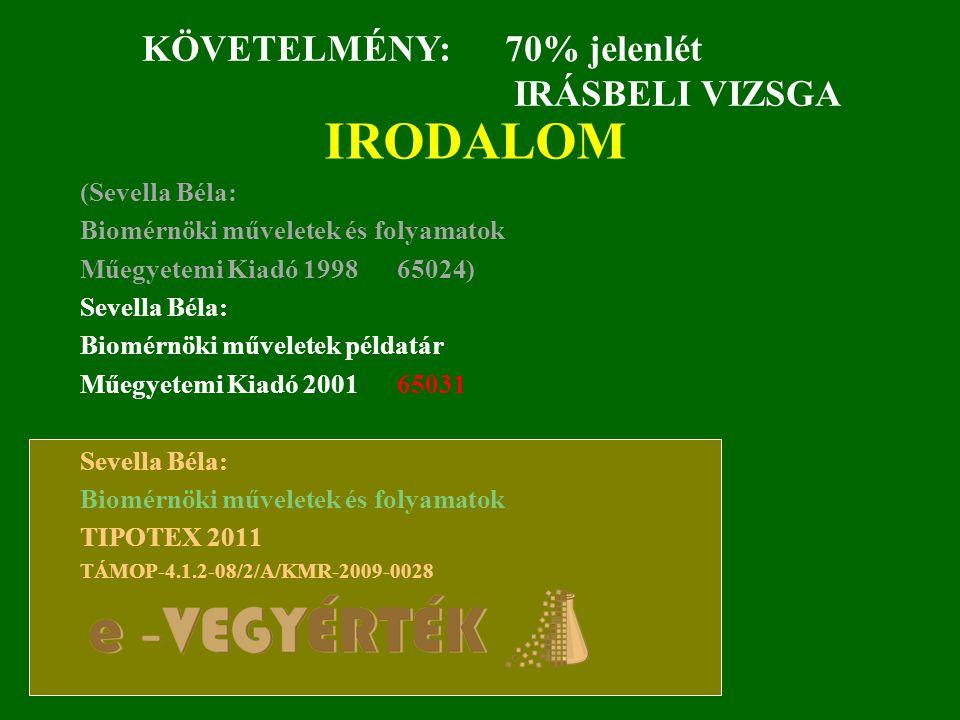 IRODALOM (Sevella Béla: Biomérnöki műveletek és folyamatok Műegyetemi Kiadó 1998 65024) Sevella Béla: Biomérnöki műveletek példatár Műegyetemi Kiadó 2