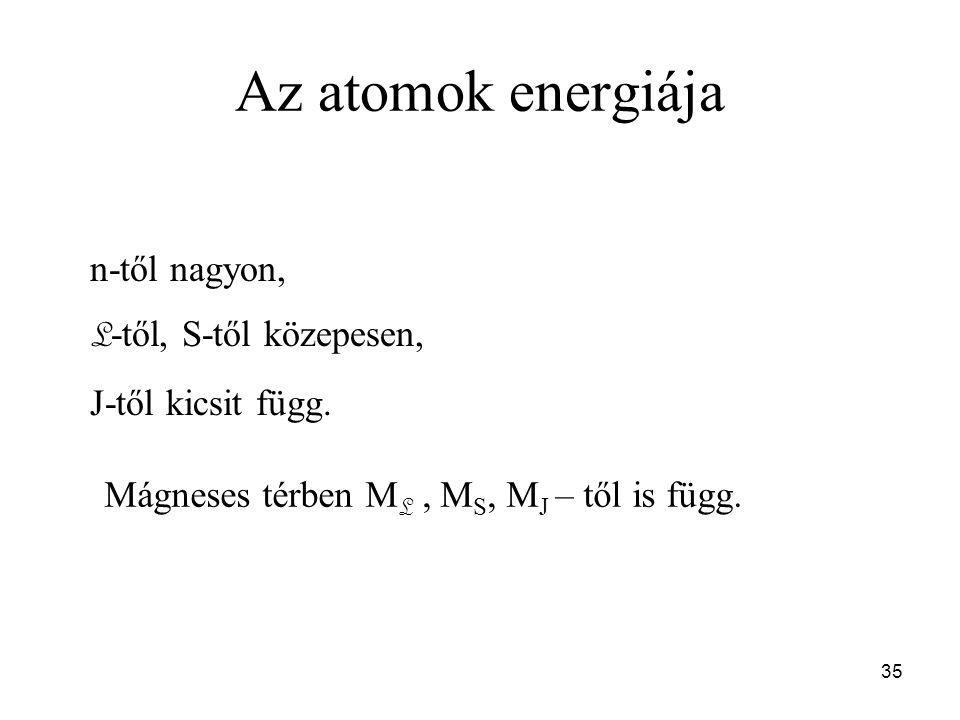 Az atomok energiája n-től nagyon, L -től, S-től közepesen, J-től kicsit függ. Mágneses térben M L, M S, M J – től is függ. 35